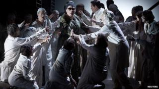 Cast members perform in the English National Opera's production of Julian Anderson's opera Thebans in London April 30, 2014