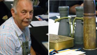 Allan Doyle and some of his grandfather's WWI mementoes