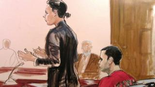 Julia Gatto (left) and Gilberto Valle (right) are seen in a courtroom drawing on 25 October 2012