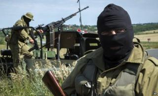 Pro-Russian fighters near Luhansk (2 July)