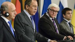 French Foreign Minister Laurent Fabius, Russian Foreign Minister Sergei Lavrov, German Foreign Minister Frank-Walter Steinmeier and Ukrainian Foreign Minister Pavlo Klimkin at a press conference in Berlin on 2 July 2014.