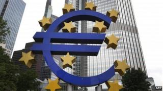 The logo of the European currency