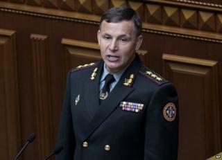 Ukrainian Defence Minister Valeriy Heletey in parliament in Kiev, 3 July