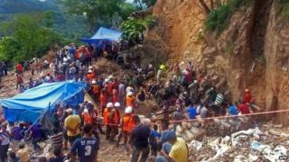 The San Juan mine, in the Honduran southern department of Choluteca, a day after the gold mine collapsed trapping 11 workers.