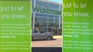 Signs in Waitrose in Cambridge