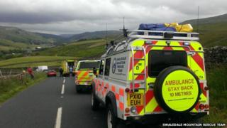 Rescue team at scene of accident