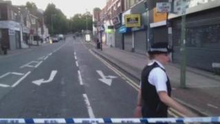 A police cordon near the scene of a stabbing in Hendon