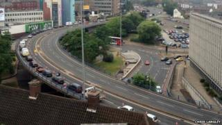 Traffic on the A38 coming into Birmingham, taken from Aston University