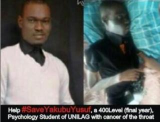 A composite image showing Yakubu Yusuf when he was well (l) and now (r)