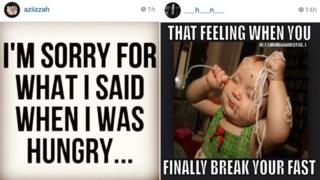 """A composite image showing two widely shared #RamadanProblems posts from Instagram. One reads """"I'm sorry for what I said when I was hungry"""", the other """"That feeling when you finally break your fast"""" and shows an image of a toddler eating spaghetti"""
