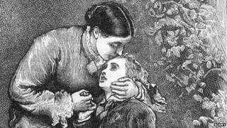 Victorian illustration of mother and son