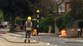 Firefighter tackling blaze in West Bridgford