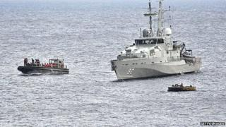 Australian navy ship intercepts boat. 22 June 2012