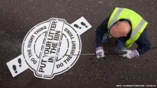 Anti-litter stencil