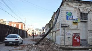Picture taken in San Marcos, 240 km of Guatemala City, showing the damages caused by an earthquake on 7 July, 2014.