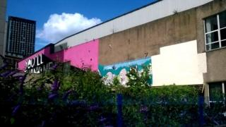 Wall where Rolf Harris mural has been removed