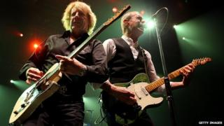 Rick Parfitt and Francis Rossi of Status Quo on stage in Perth, Australia, in 2010