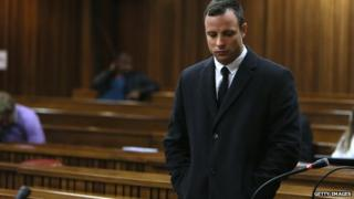 Oscar Pistorius during his murder trial at the Pretoria High Court - 8 July 2014, Pretoria, South Africa.