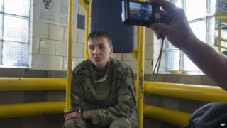 Nadiya Savchenko, 33, speaks to journalists shortly after her capture in Luhansk, Ukraine, 19 June