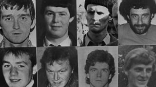 From top left: Patrick McKearney, Tony Gormley, Jim Lynagh, Paddy Kelly; from bottom left: Declan Arthurs, Gerard O'Callaghan, Seamus Donnelly and Eugene Kelly
