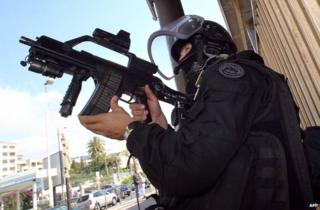 A French antiterrorist policeman in Cannes, southern France, 6 October 2012