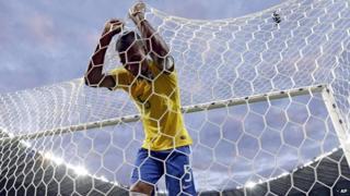 Fernandinho reacts after Germany score their third goal