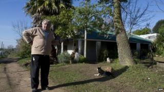 Jose Mujica at his house outside Montevideo