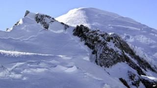 19 February 2003 file photo of Mont Blanc, western Europe's highest mountain.