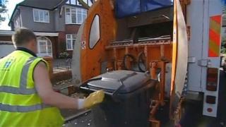 Bin being taken out