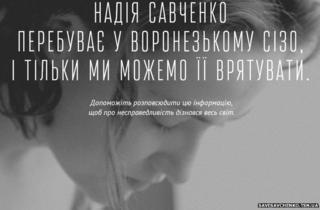 "Screenshot of Ukrainian website dedicated to the ""injustice"" of Ukrainian air force pilot Nadia Savchenko's capture by Russia"