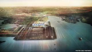 Artists impression of Foster and Partners' proposed Isle of Grain airport