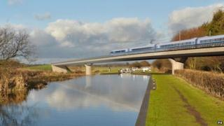 An artist's impression of part of the proposed HS2 route
