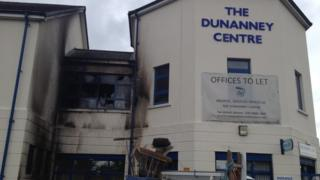 The damage to the exterior of the centre