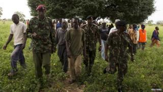 Police at the scene of an attack in Kenya