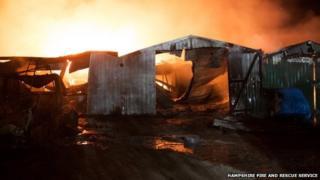 The blaze at Dradfield Lane, Soberton Heath