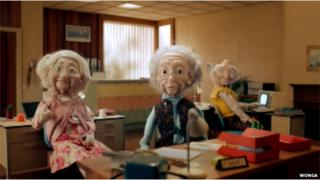 Still from Wonga ad with puppet grandparents