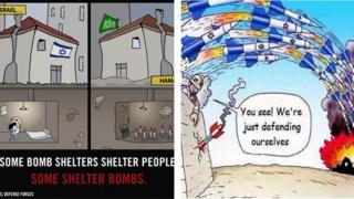 IDF and Hamas cartoons
