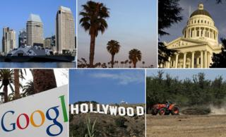 Clockwise from top left: San Diego, palm trees, Sacramento, Fresno farming, Hollywood and Google HQ