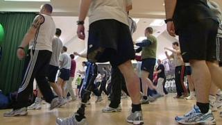 British soldiers, including an amputee, during a work-out exercise at the Headley Court Defence Medical Rehabilitation Centre in Leatherhead