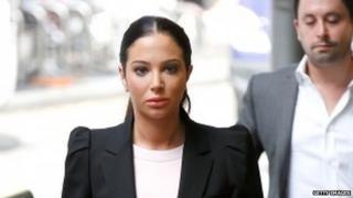 Tulisa Constostavlos attends court