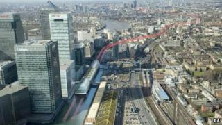 Artists impression of route of the new Crossrail project