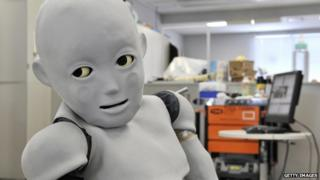 A child-sized robot in a Japanese laboratory.