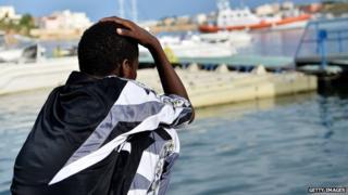Survivor of shipwreck in Lampedusa, Italy