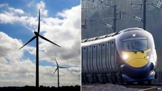 Wind farm turbine, Hitachi train