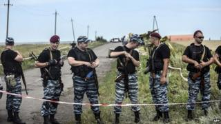 Pro-Russia fighters at the site