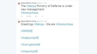 Screen grab of KDF Twitter account
