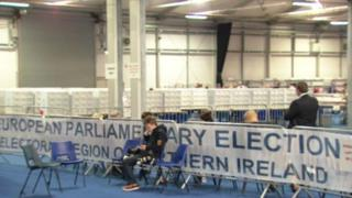 Scene of 2014 European election count in Northern Ireland