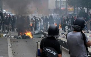 Youths looted shops and burned cars during the banned pro-Palestinian rally in Sarcelles on Sunday
