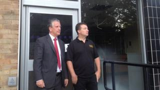Mike Thornton, MP for Eastleigh (left) and Jason Judd, director at the Oven Door Bakery next door