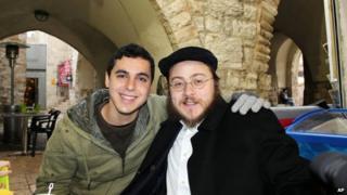 Nissim Sean Carmeli (left), and Rabbi Asher Hecht in Jerusalem, Israeli, in 2012